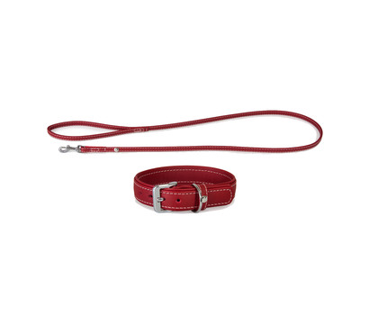 Das Lederband Halsband/Leinen-Set Olivvia Barcelona Indian-Red