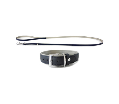 Das Lederband Halsband/Leinen-Set Style Amsterdam Navy/Grey