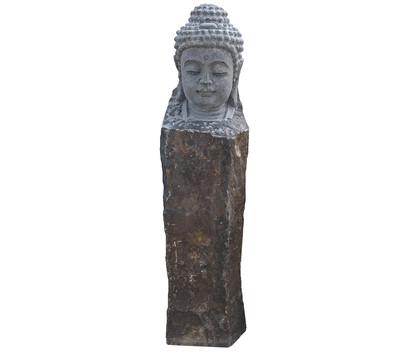 Dehner Basalt-Säule Buddha, ca. B20/H85/T25 cm