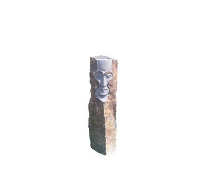 Dehner Basalt-Säule mit Gesicht, ca. B20/H100/T20 cm