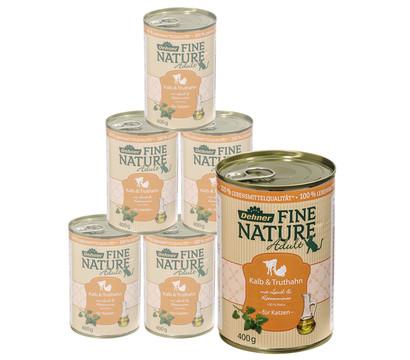 Dehner Fine Nature Nassfutter Adult, Kalb & Truthahn, 6x200 g/400 g
