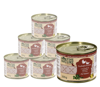 Dehner Fine Nature Nassfutter Senior, Truthahn & Ente, 6x200 g/400 g
