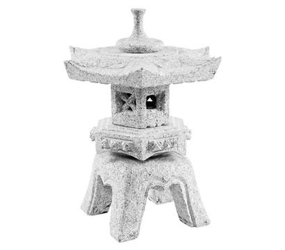 Dehner Granit-Laterne Rokkaku Yu mit Solar