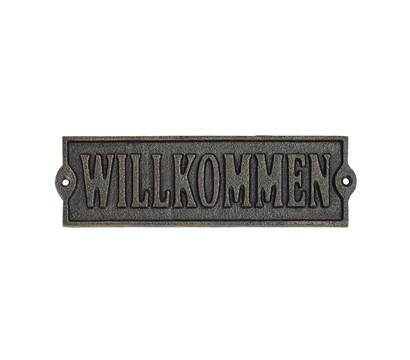 Dehner Gusseisen-Schild Willkommen, ca. B20,1/H6,1 cm, bronze