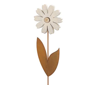 Dehner Holzblume mit Metall-Blätter, weiß