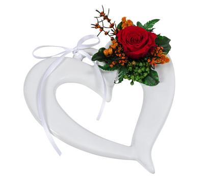 Dehner Keramikherz mit Longlife-Rose 'Evelin'