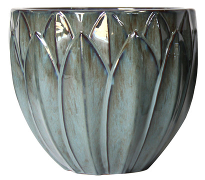 Dehner Keramik-Topf, grün-blau