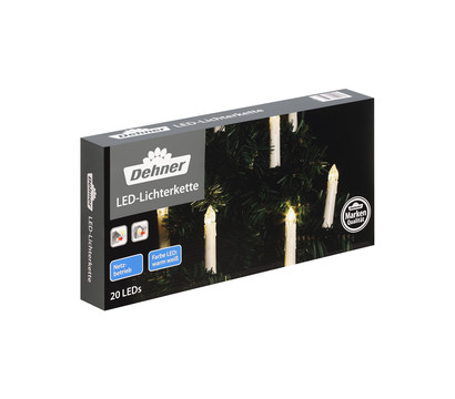 Dehner LED-Lichterkette Schaftkerzen, warmweiß