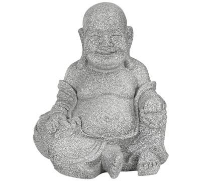 Dehner Leichtbeton-Buddha, ca. B34/H40/T32 cm, granit-grau