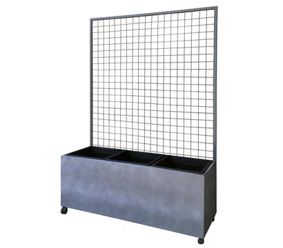 Dehner Leichtbeton-Kasten mit Spalier und Rollen, ca. B100/H142/T37 cm, grau