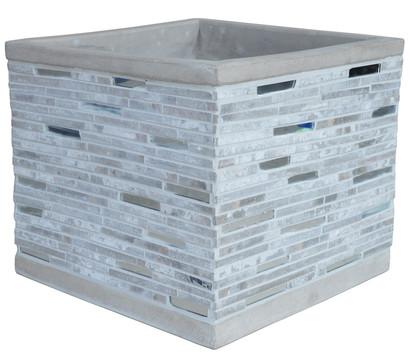 Dehner Leichtbeton-Topf mit Steinelementen, grau