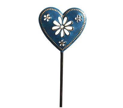 Dehner Metall-Gartenstecker Herz, blau
