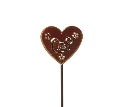 Dehner Metall-Gartenstecker Herz, dunkelrot