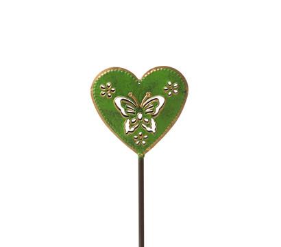 Dehner Metall-Gartenstecker Herz, grün