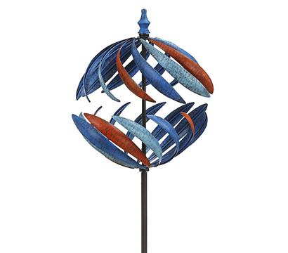Dehner Metall-Riesen-Windrad Globe, ca. H186 cm, blau-rot