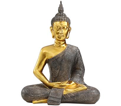 Dehner Polyresin-Buddha, gold-grau, 49,5 x 27,5 x 61,5 cm