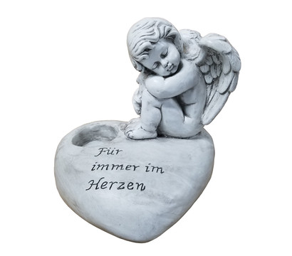 Dehner Polyresin-Engel auf Herz, ca. B33/H29/T30 cm