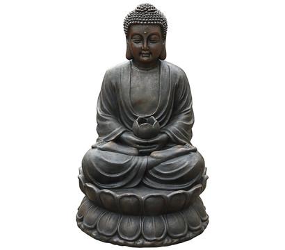 Dehner Polyresin-Gartenbrunnen Buddha, 49,5 x 49,5 x 80,5 cm