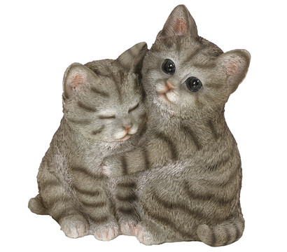 Dehner Polyresin-Katzenpaar, grau-weiß