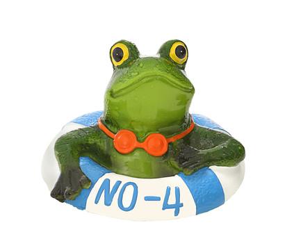 Dehner Polyresin-Schwimmfigur Frosch im Rettungsring , ca. B11/H7,5/T10 cm