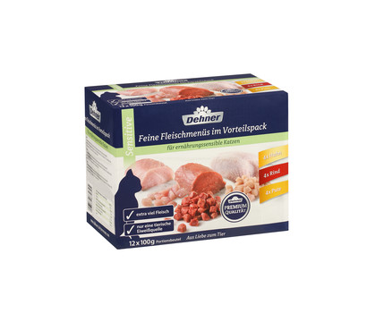 Dehner Premium Feine Fleischmenüs im Vorteilspack, Adult Sensitive, 12x100 g