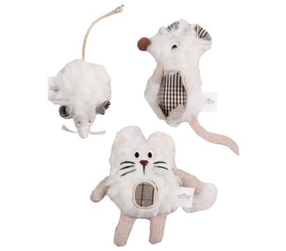 Dehner Premium Lovely Katzenspielzeug Set Kuschel-Mäuschen, Ratte & Katze