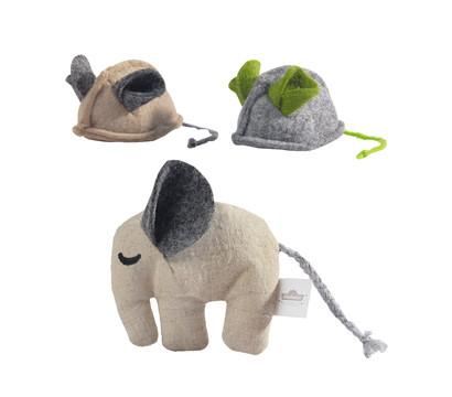 Dehner Premium Lovely Katzenspielzeug Set Mini-Elefant & Filzmäuse