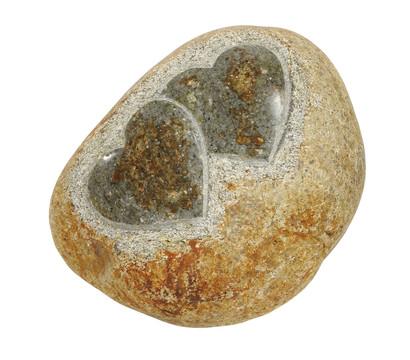 Dehner Stein mit zwei Herzen, groß, 30 x 25 x 15 cm