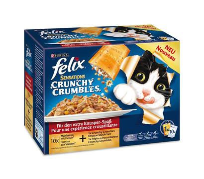 Felix Crunchy Crumbles, Nassfutter, 10x100g+40g Topping
