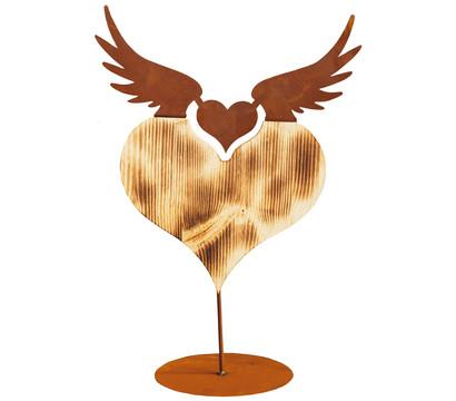 Ferrum Holz-Herz mit Metall-Flügel, 36 x 51 cm, rost