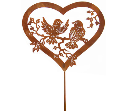 Ferrum Metall-Gartenstab Vogelpärchen, 40 x 115 cm, rost