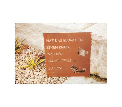 Ferrum Metall-Gedichttafel Schmetterling, 48 x 50 cm, rost