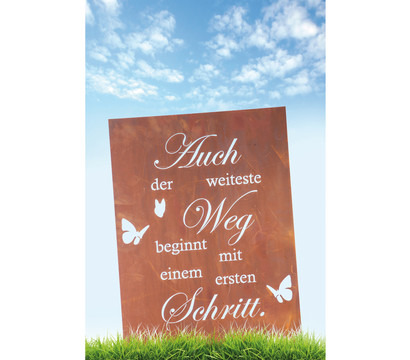 Ferrum Metall-Gedichttafel Weg, 45 x 60 cm, rost