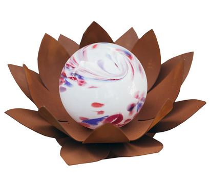 Ferrum Metall-Seerose mit weißer Glaskugel, Ø 40 x 40 cm, rost