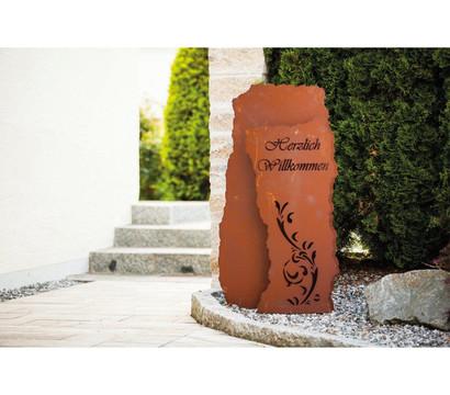 Ferrum Metall-Säulenbogen Herzlich Willkommen, 10 x 120 cm, rost