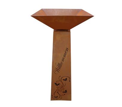 Ferrum Metall-Trapez-Säule Lilie Willkommen, 30 x 30 x 116,5 cm, rost