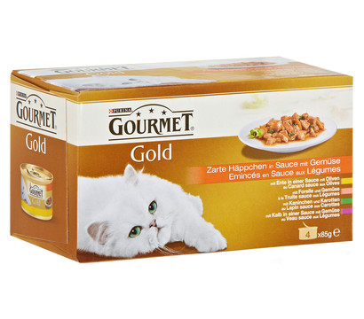 Gourmet Gold Zarte Häppchen, Nassfutter, 4x85g