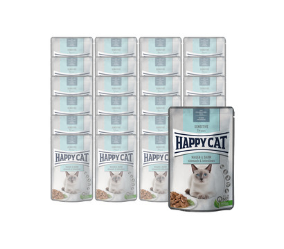 Happy Cat Nassfutter Sensitive Magen & Darm, 24 x 85 g