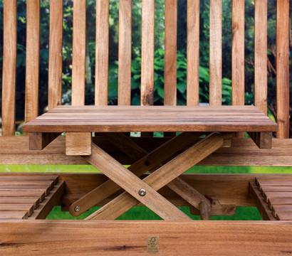 Holzbank Oslo mit Tischfunktion, 3-Sitzer: Dehner Garten ...