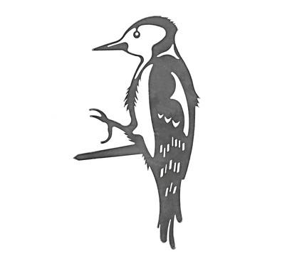 Illumino Stahl-Baumstecker Glücksvogel Specht, ca. B16/H22,5 cm, rost
