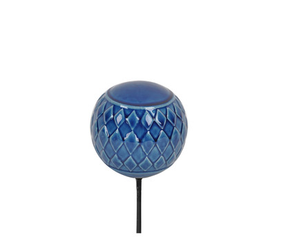 keramik gartenkugel raute auf metallstab blau dehner. Black Bedroom Furniture Sets. Home Design Ideas