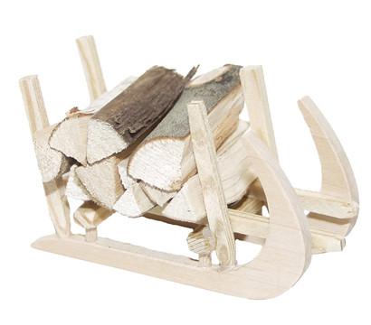 Kolbe Hörner-Schlitten mit Holz, 6x3x3,5 cm