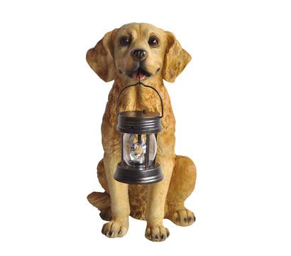 kunststoff hund mit solarlampe braun 37 x 26 x 47 cm. Black Bedroom Furniture Sets. Home Design Ideas