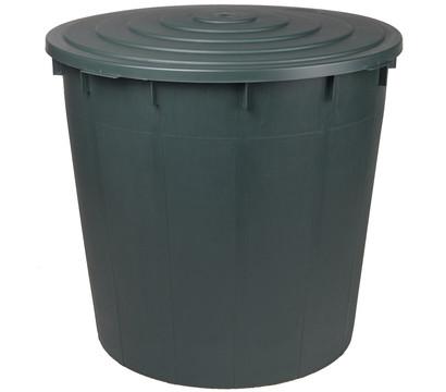 Kunststoff-Regentonne 500 l mit Deckel, rund, dunkelgrün
