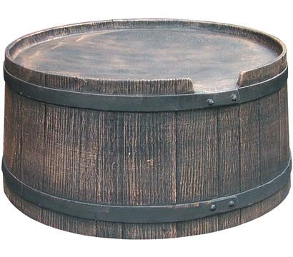 Kunststoff-Sockel für Regenfass in Holzoptik, braun-grau
