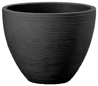 Kunststoff-Topf in Riffeloptik, Ø 40 cm, anthrazit