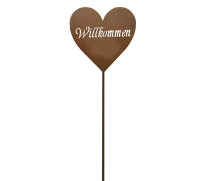 Metall-Stecker Herz Willkommen