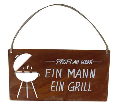 Metall-Tafel 'Ein Mann Ein Grill', B28/H30 cm