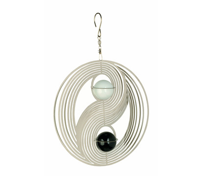 NATURE'S MELODY Windspiel Cosmo Yin Yang, 20,5 x 4,5 x 29 cm, silber/schwarz/weiß