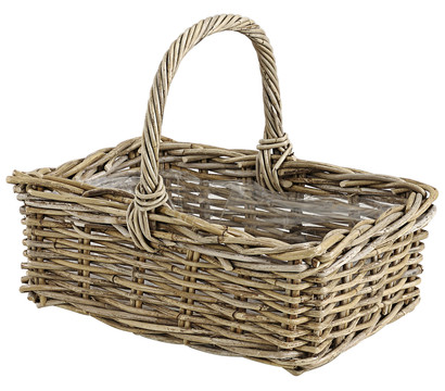 Rattan-Korb mit Henkel, grau-braun, 40 x 28 x 30 cm